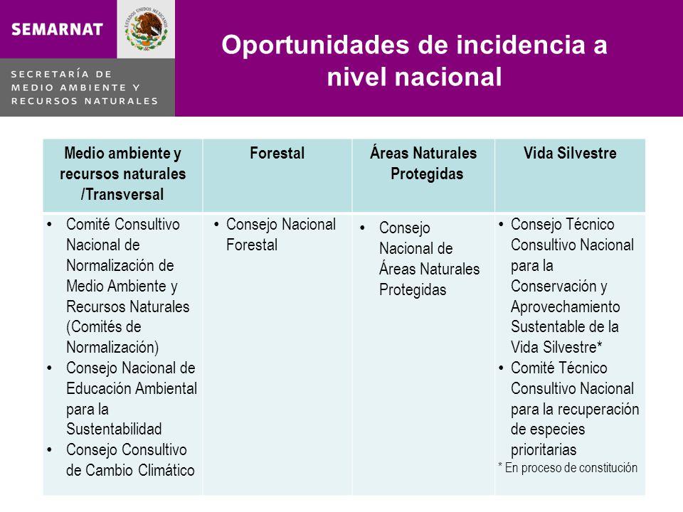 Oportunidades de incidencia a nivel nacional Lo malo Medio ambiente y recursos naturales /Transversal ForestalÁreas Naturales Protegidas Vida Silvestr