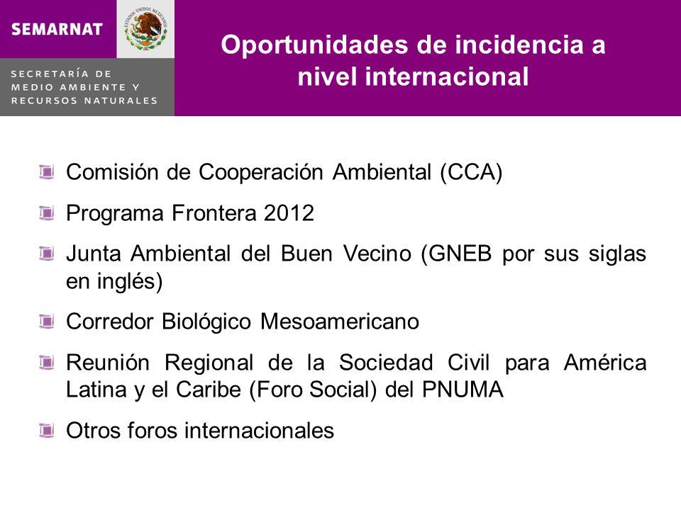 Oportunidades de incidencia a nivel internacional Lo malo Comisión de Cooperación Ambiental (CCA) Programa Frontera 2012 Junta Ambiental del Buen Veci