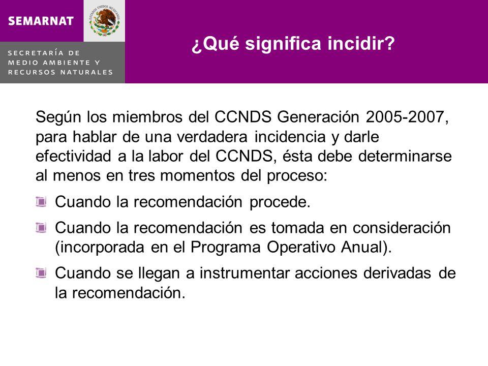 Temáticas de las recomendaciones elaboradas por el CCNDS Generación 2005-2007 Lo malo Temas% % Consejos19.4 Áreas Naturales Protegidas 3.7 Educación Ambiental12.0Ordenamiento Ecológico3.7 Legislación y Normatividad11.1Biodiversidad2.8 Fortalecimiento de Programas10.2 Evaluación de Programas 1.9 Residuos9.3Cambio Climático1.9 Políticas o programas6.5Asuntos Internacionales1.9 Agua4.6Impacto Ambiental0.9 Transversalidad4.6Bioseguridad0.9 Contaminación 4.6 Total100.0
