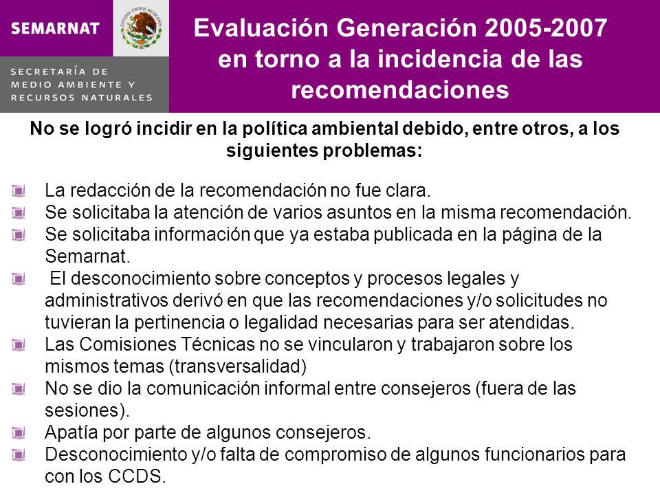 Evaluación Generación 2005-2007 en torno a la incidencia de las recomendaciones Lo malo No se logró incidir en la política ambiental debido, entre otros, a los siguientes problemas: La redacción de la recomendación no fue clara.