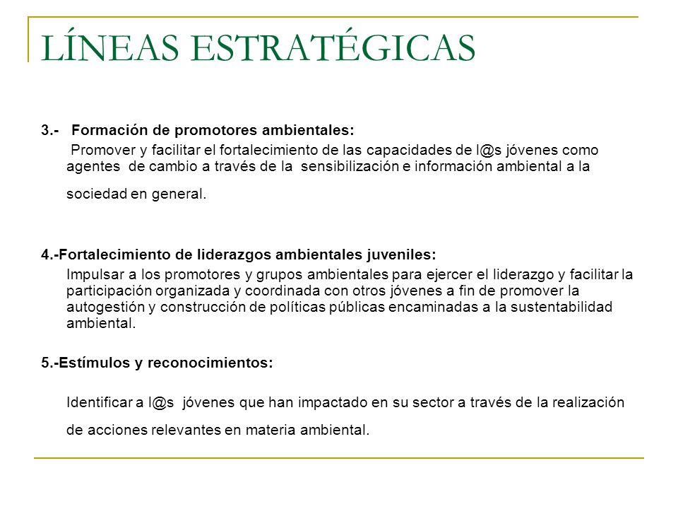 LÍNEAS ESTRATÉGICAS 3.- Formación de promotores ambientales: Promover y facilitar el fortalecimiento de las capacidades de l@s jóvenes como agentes de cambio a través de la sensibilización e información ambiental a la sociedad en general.