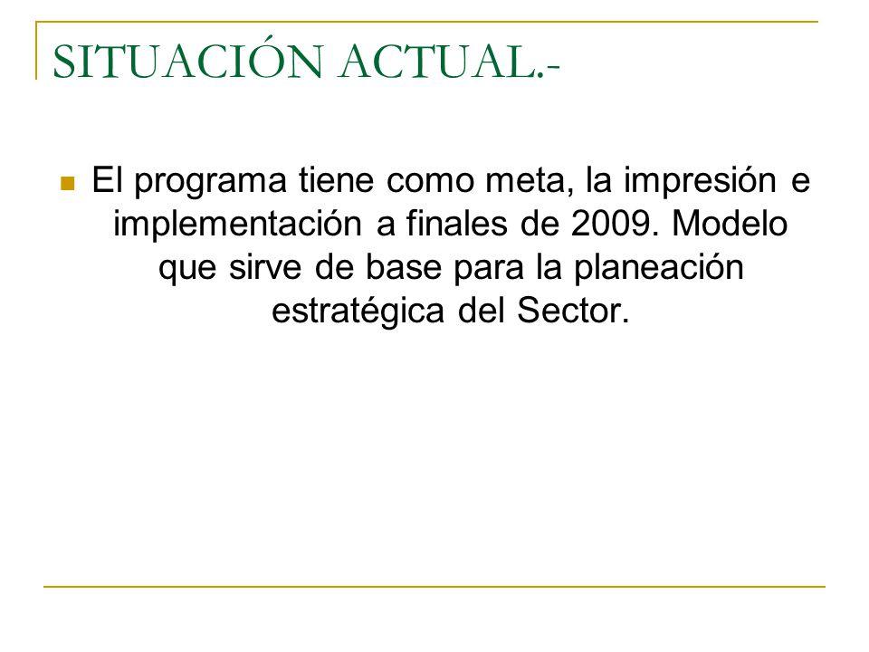 SITUACIÓN ACTUAL.- El programa tiene como meta, la impresión e implementación a finales de 2009.