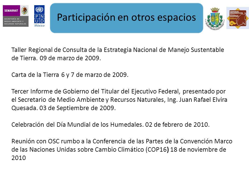Participación en otros espacios Taller Regional de Consulta de la Estrategia Nacional de Manejo Sustentable de Tierra.