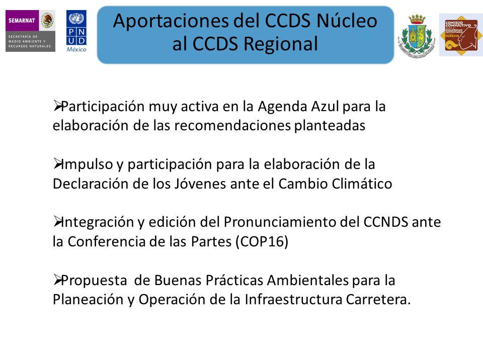 Aportaciones del CCDS Núcleo al CCDS Regional Participación muy activa en la Agenda Azul para la elaboración de las recomendaciones planteadas Impulso y participación para la elaboración de la Declaración de los Jóvenes ante el Cambio Climático Integración y edición del Pronunciamiento del CCNDS ante la Conferencia de las Partes (COP16) Propuesta de Buenas Prácticas Ambientales para la Planeación y Operación de la Infraestructura Carretera.