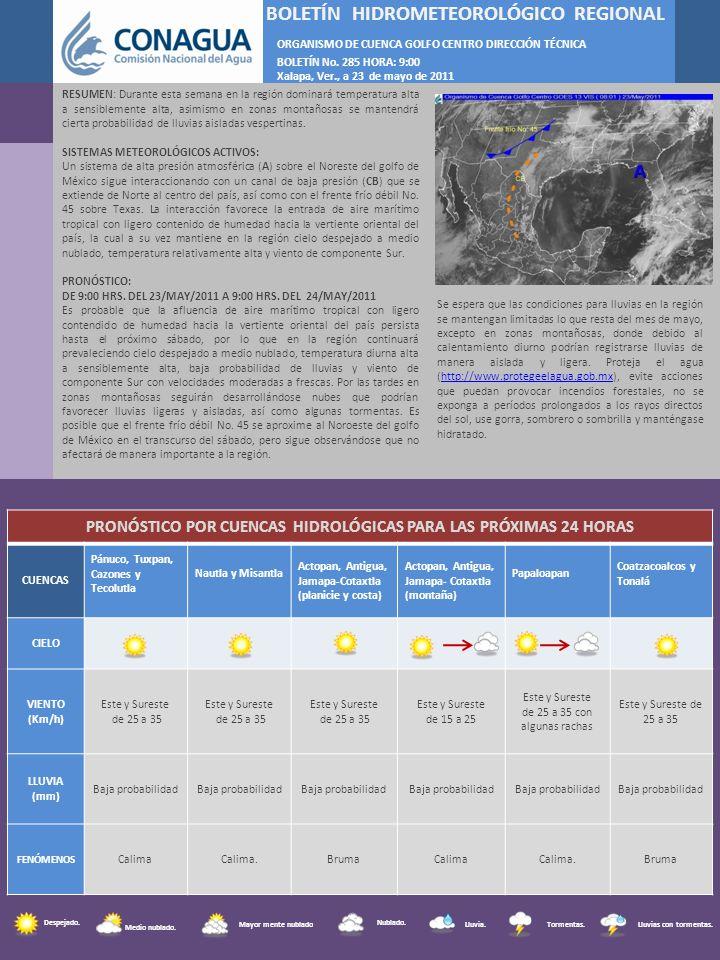 F BOLETÍN HIDROMETEOROLÓGICO REGIONAL ORGANISMO DE CUENCA GOLFO CENTRO DIRECCIÓN TÉCNICA BOLETÍN No. 285 HORA: 9:00 Xalapa, Ver., a 23 de mayo de 2011