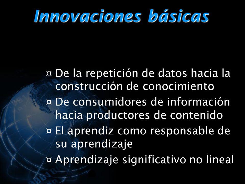 Innovaciones básicas ¤ De la repetición de datos hacia la construcción de conocimiento ¤ De consumidores de información hacia productores de contenido ¤ El aprendiz como responsable de su aprendizaje ¤ Aprendizaje significativo no lineal