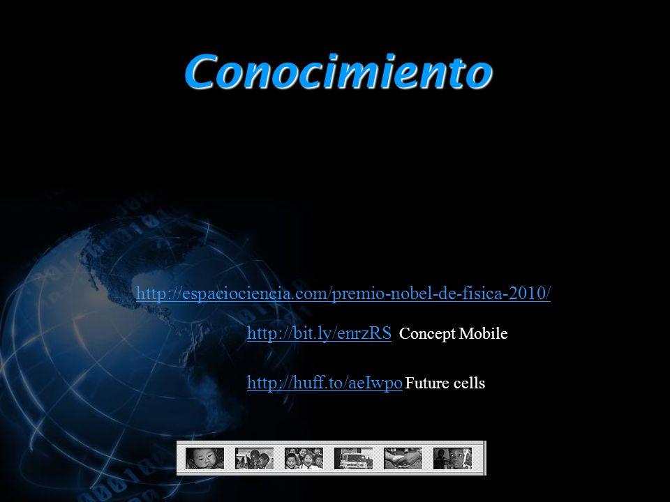 Conocimiento http://espaciociencia.com/premio-nobel-de-fisica-2010/ http://bit.ly/enrzRShttp://bit.ly/enrzRS Concept Mobile http://huff.to/aeIwpohttp://huff.to/aeIwpo Future cells