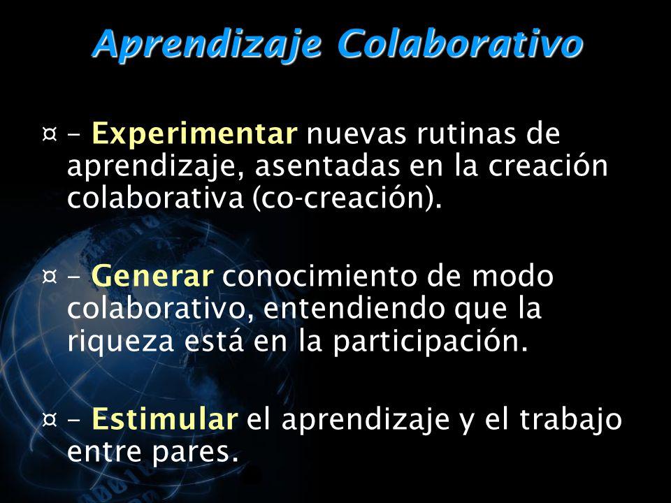 Aprendizaje Colaborativo ¤ – Experimentar nuevas rutinas de aprendizaje, asentadas en la creación colaborativa (co-creación).