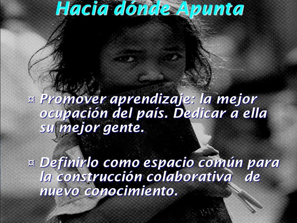 Hacia dónde Apunta ¤ Promover aprendizaje: la mejor ocupación del país.