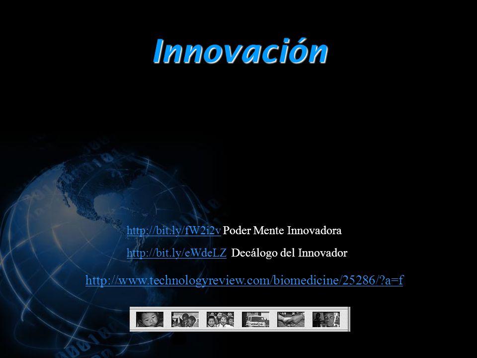 Innovación http://www.technologyreview.com/biomedicine/25286/ a=f http://bit.ly/eWdeLZhttp://bit.ly/eWdeLZ Decálogo del Innovador http://bit.ly/fW2i2vhttp://bit.ly/fW2i2v Poder Mente Innovadora
