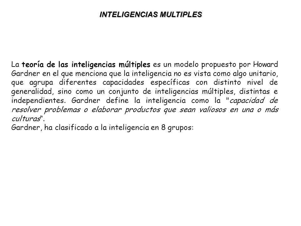 La teoría de las inteligencias múltiples es un modelo propuesto por Howard Gardner en el que menciona que la inteligencia no es vista como algo unitario, que agrupa diferentes capacidades específicas con distinto nivel de generalidad, sino como un conjunto de inteligencias múltiples, distintas e independientes.