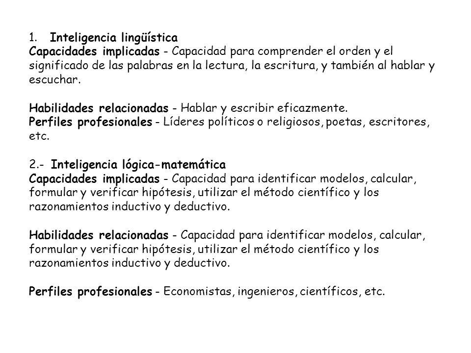 1. Inteligencia lingüística Capacidades implicadas - Capacidad para comprender el orden y el significado de las palabras en la lectura, la escritura,