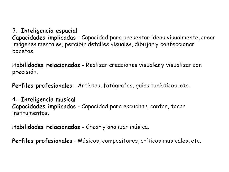 3.- Inteligencia espacial Capacidades implicadas - Capacidad para presentar ideas visualmente, crear imágenes mentales, percibir detalles visuales, dibujar y confeccionar bocetos.
