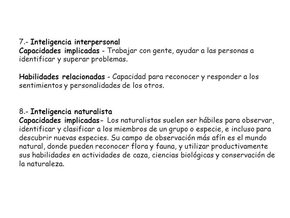 7.- Inteligencia interpersonal Capacidades implicadas - Trabajar con gente, ayudar a las personas a identificar y superar problemas.