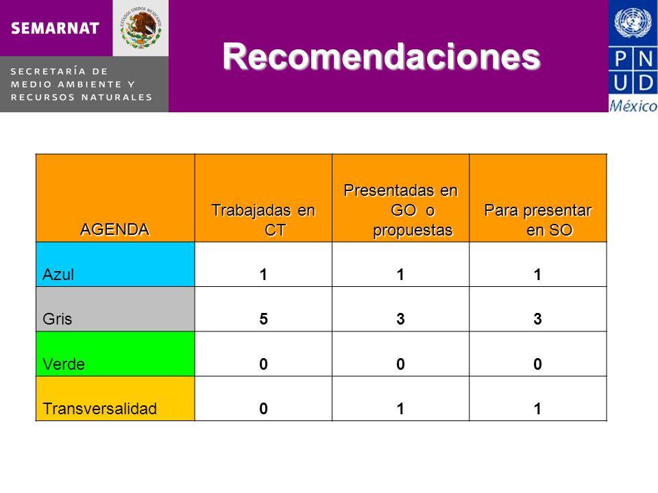 Recomendaciones AGENDA Trabajadas en CT Presentadas en GO o propuestas Para presentar en SO Azul111 Gris533 Verde000 Transversalidad011