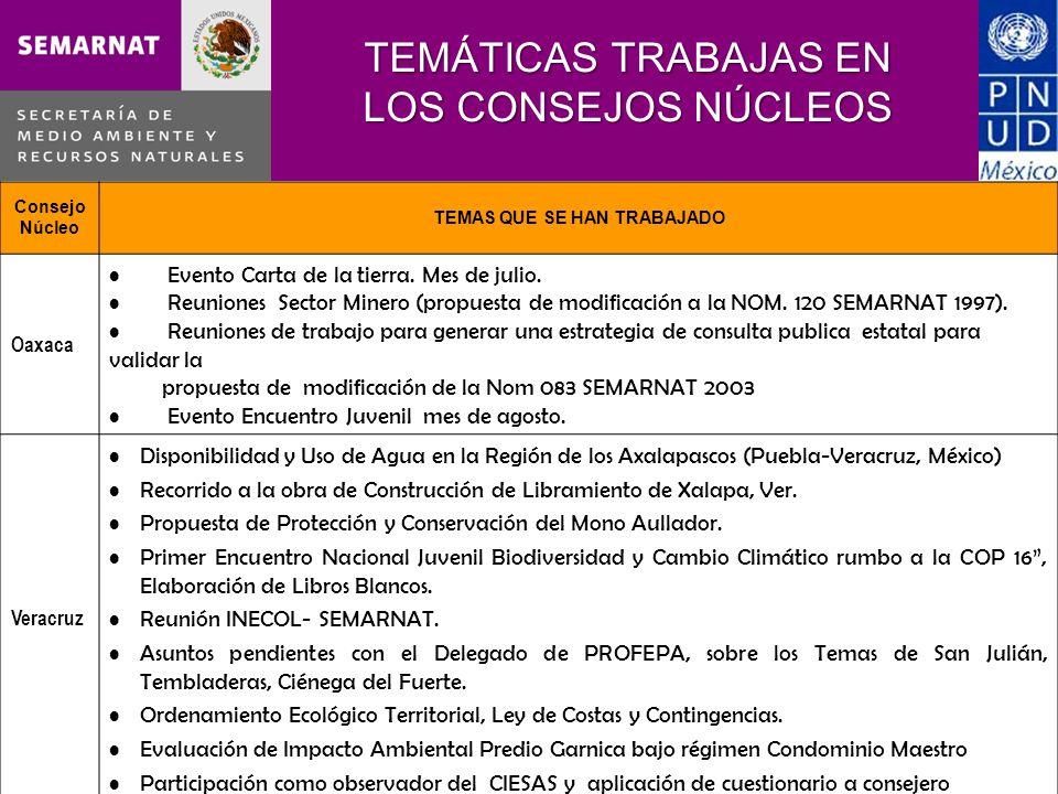 Consejo Núcleo TEMAS QUE SE HAN TRABAJADO Oaxaca Evento Carta de la tierra. Mes de julio. Reuniones Sector Minero (propuesta de modificación a la NOM.