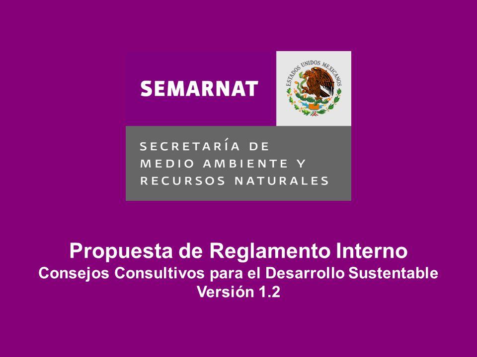 Capítulo I Disposiciones generales Capítulo II Integración de los Consejos Capítulo III Derechos, obligaciones y baja de Consejeros Capítulo IV Operación de los Consejos Propuesta de Reglamento Interno Consejos Consultivos para el Desarrollo Sustentable Versión 1.2
