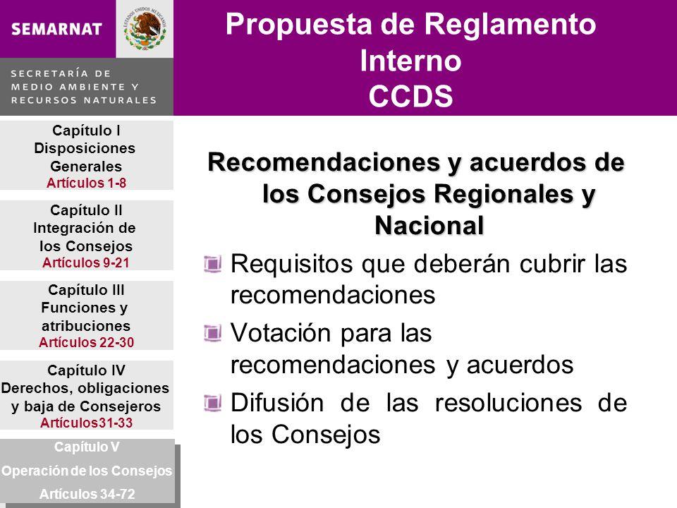 Capítulo I Disposiciones Generales Artículos 1-8 Capítulo II Integración de los Consejos Artículos 9-21 Capítulo IV Derechos, obligaciones y baja de Consejeros Artículos31-33 Capítulo V Operación de los Consejos Artículos34-72 Capítulo III Funciones y atribuciones Artículos 22-30 Propuesta de Reglamento Interno CCDS Recomendaciones y acuerdos de los Consejos Regionales y Nacional Requisitos que deberán cubrir las recomendaciones Votación para las recomendaciones y acuerdos Difusión de las resoluciones de los Consejos Capítulo V Operación de los Consejos Artículos 34-72 Capítulo V Operación de los Consejos Artículos 34-72