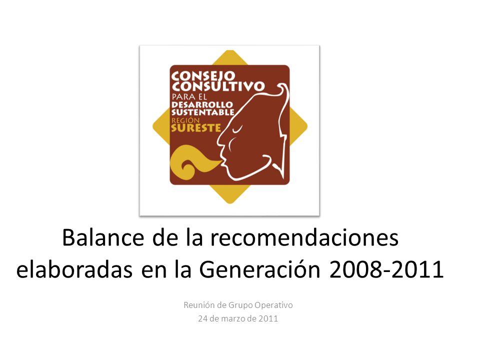 Balance de la recomendaciones elaboradas en la Generación 2008-2011 Reunión de Grupo Operativo 24 de marzo de 2011