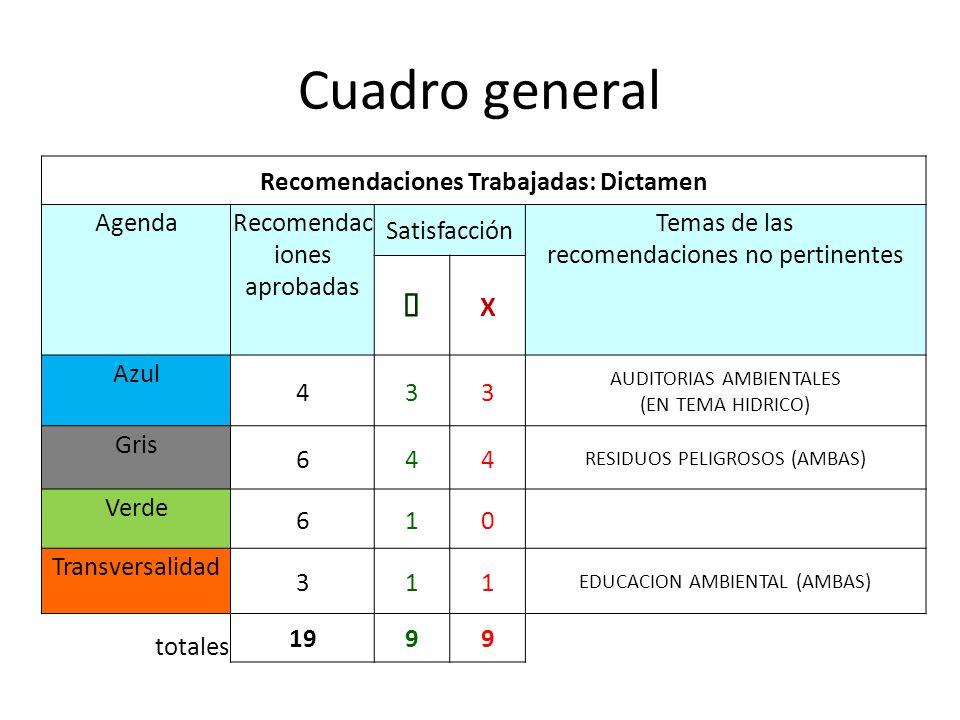 Cuadro general Recomendaciones Trabajadas: Dictamen AgendaRecomendac iones aprobadas Satisfacción Temas de las recomendaciones no pertinentes X Azul 4