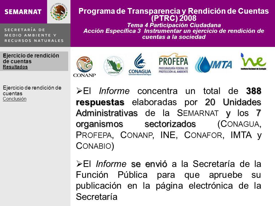 Programa de Transparencia y Rendición de Cuentas (PTRC) 2008 Tema 4 Participación Ciudadana Acción Específica 3 Instrumentar un ejercicio de rendición