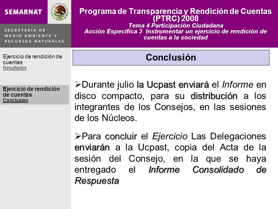 Programa de Transparencia y Rendición de Cuentas (PTRC) 2008 Tema 4 Participación Ciudadana Acción Específica 3 Instrumentar un ejercicio de rendición de cuentas a la sociedad Agradecimiento