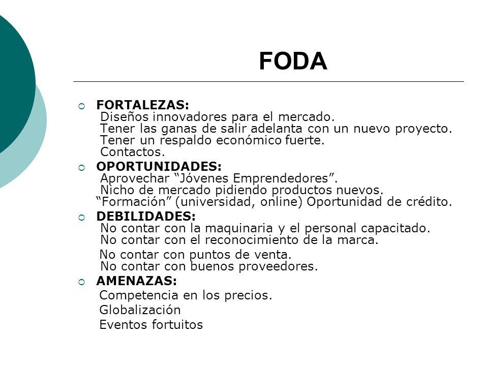 FODA FORTALEZAS: Diseños innovadores para el mercado.