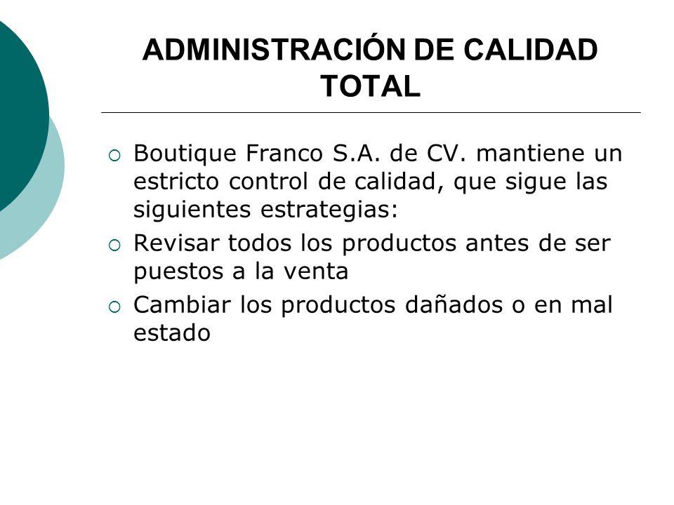 ADMINISTRACIÓN DE CALIDAD TOTAL Boutique Franco S.A.