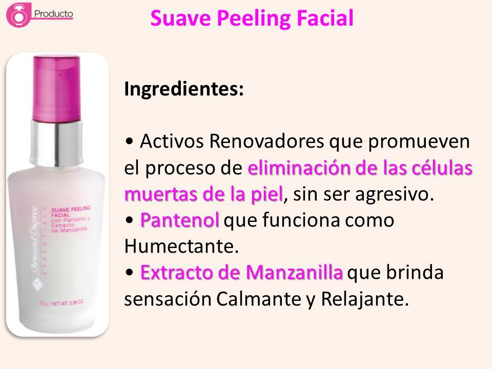 Suave Peeling Facial Ingredientes: eliminación de las células muertas de la piel Activos Renovadores que promueven el proceso de eliminación de las cé