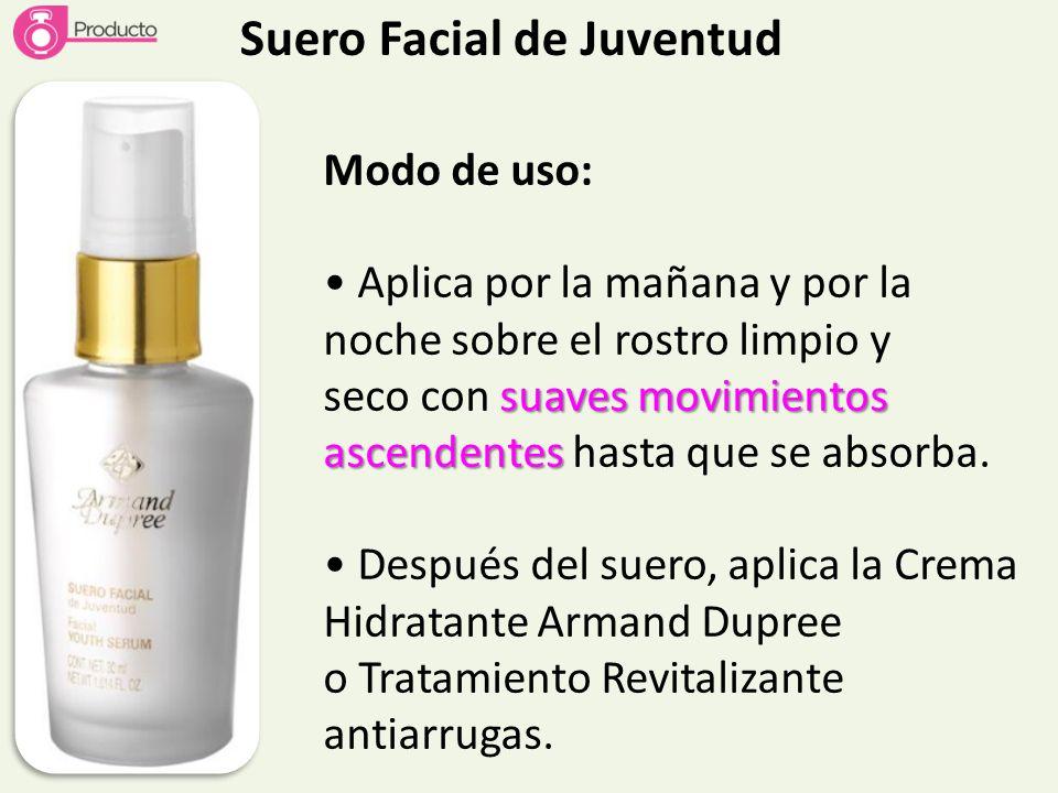 Suero Facial de Juventud Modo de uso: Aplica por la mañana y por la noche sobre el rostro limpio y suaves movimientos ascendentes seco con suaves movi