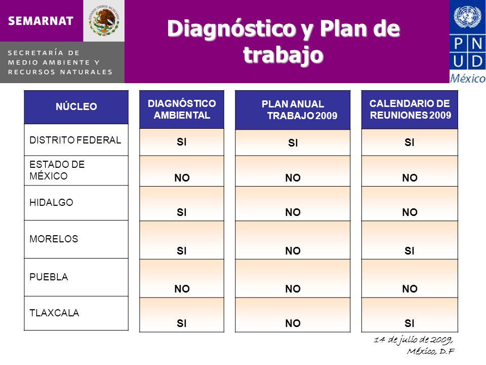 14 de julio de 2009, México, D.F Diagnóstico y Plan de trabajo NÚCLEO DISTRITO FEDERAL ESTADO DE MÉXICO HIDALGO MORELOS PUEBLA TLAXCALA DIAGNÓSTICO AMBIENTAL SI NO SI NO SI PLAN ANUAL TRABAJO 2009 SI NO CALENDARIO DE REUNIONES 2009 SI NO SI NO SI