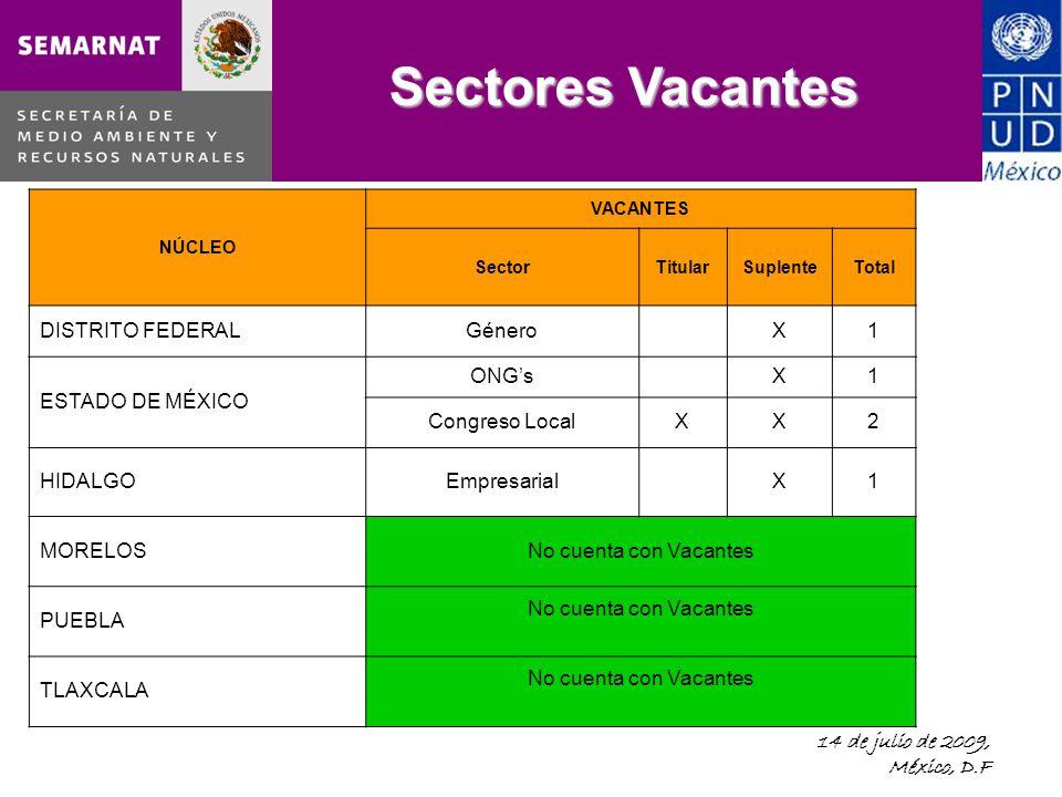 14 de julio de 2009, México, D.F Sectores Vacantes NÚCLEO VACANTES SectorTitularSuplenteTotal DISTRITO FEDERALGéneroX1 ESTADO DE MÉXICO ONGsX1 Congreso LocalXX2 HIDALGOEmpresarialX1 MORELOSNo cuenta con Vacantes PUEBLA No cuenta con Vacantes TLAXCALA No cuenta con Vacantes