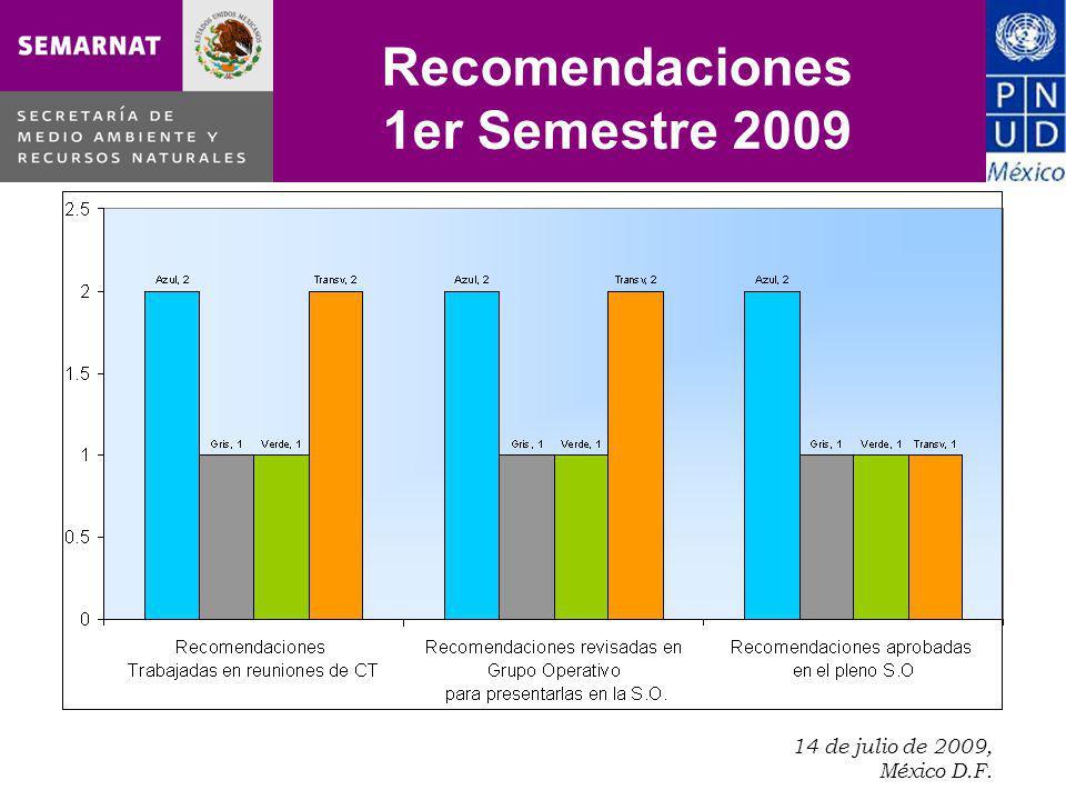 14 de julio de 2009, México D.F.. Recomendaciones 1er Semestre 2009