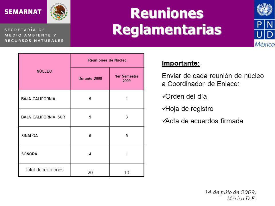 14 de julio de 2009, México D.F.. Importante: Enviar de cada reunión de núcleo a Coordinador de Enlace: Orden del día Hoja de registro Acta de acuerdo