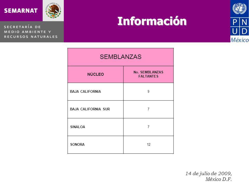 14 de julio de 2009, México D.F.. SEMBLANZAS NÚCLEO No. SEMBLANZAS FALTANTES BAJA CALIFORNIA9 BAJA CALIFORNIA SUR7 SINALOA7 SONORA12 Información