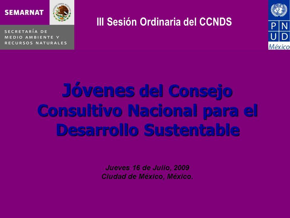 Jóvenes del Consejo Consultivo Nacional para el Desarrollo Sustentable Jueves 16 de Julio, 2009 Ciudad de México, México.