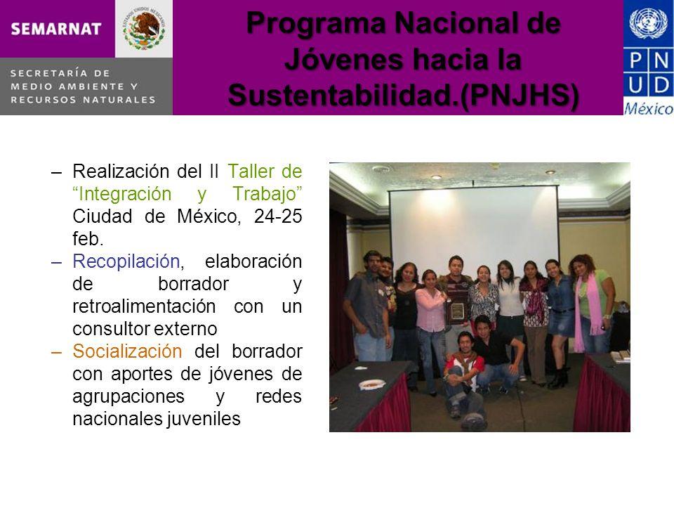 Programa Nacional de Jóvenes hacia la Sustentabilidad.(PNJHS) –Realización del II Taller de Integración y Trabajo Ciudad de México, 24-25 feb.