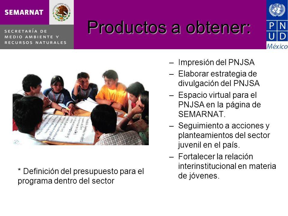 Productos a obtener: –Impresión del PNJSA –Elaborar estrategia de divulgación del PNJSA –Espacio virtual para el PNJSA en la página de SEMARNAT.