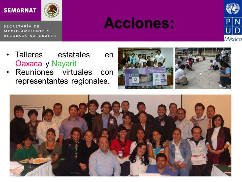 Acciones: Talleres estatales en Oaxaca y Nayarit Reuniones virtuales con representantes regionales.