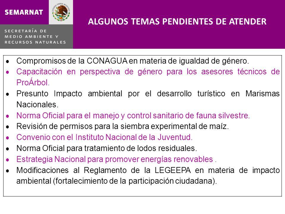 Compromisos de la CONAGUA en materia de igualdad de género. Capacitación en perspectiva de género para los asesores técnicos de ProÁrbol. Presunto Imp