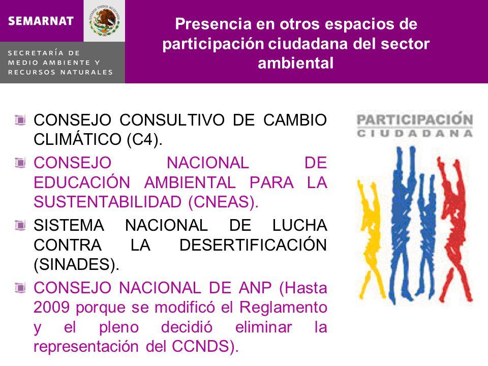 Presencia en otros espacios de participación ciudadana del sector ambiental CONSEJO CONSULTIVO DE CAMBIO CLIMÁTICO (C4). CONSEJO NACIONAL DE EDUCACIÓN