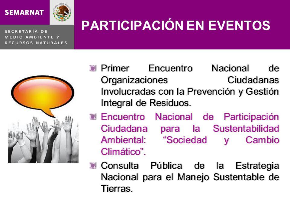 PARTICIPACIÓN EN EVENTOS Primer Encuentro Nacional de Organizaciones Ciudadanas Involucradas con la Prevención y Gestión Integral de Residuos. Encuent
