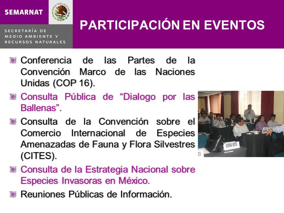PARTICIPACIÓN EN EVENTOS Conferencia de las Partes de la Convención Marco de las Naciones Unidas (COP 16). Consulta Pública de Dialogo por las Ballena