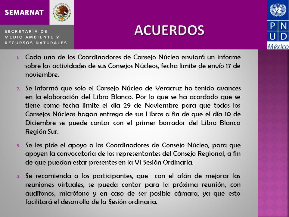 1. Cada uno de los Coordinadores de Consejo Núcleo enviará un informe sobre las actividades de sus Consejos Núcleos, fecha limite de envío 17 de novie