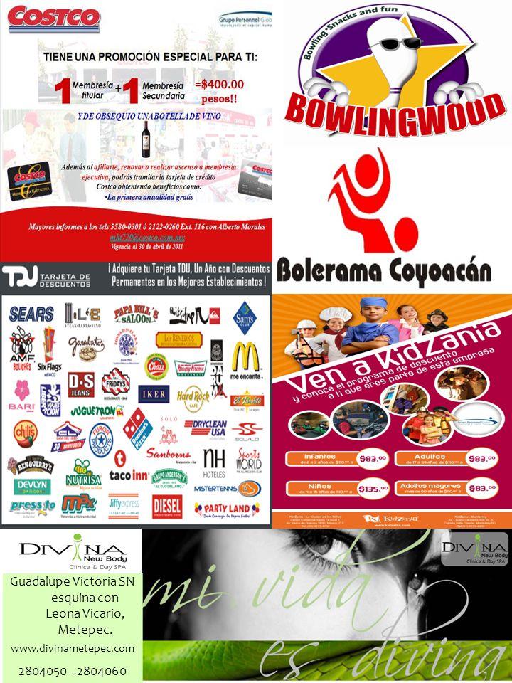 2804050 - 2804060 www.divinametepec.com Guadalupe Victoria SN esquina con Leona Vicario, Metepec.