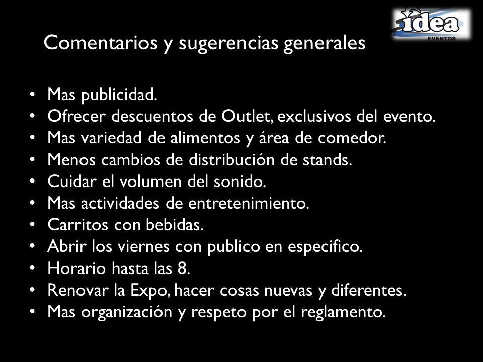 Comentarios y sugerencias generales Mas publicidad.