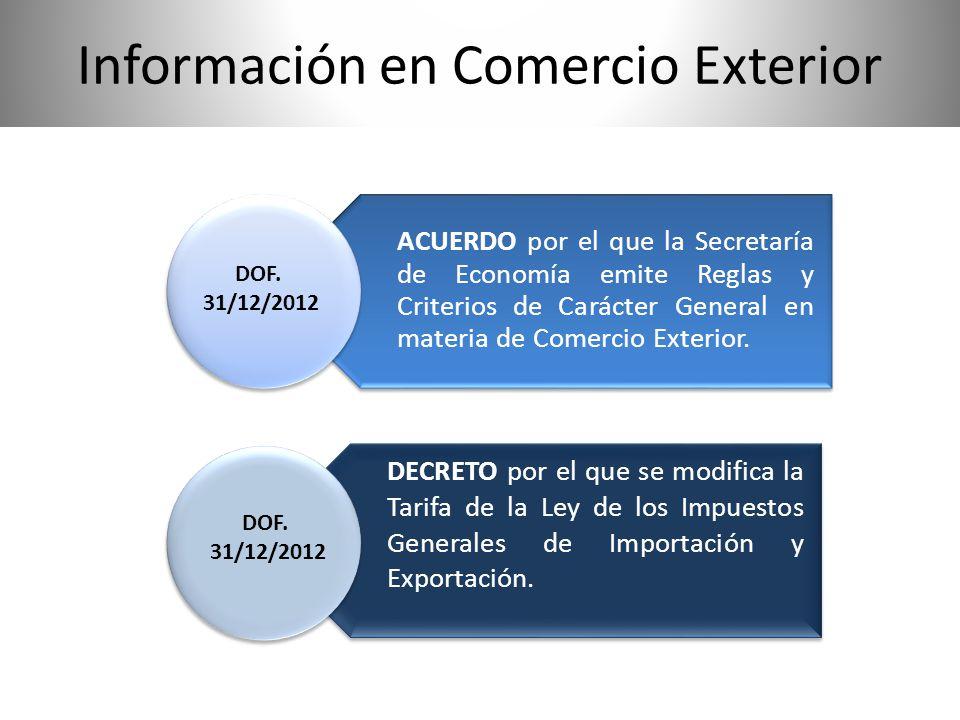 ACUERDO por el que la Secretaría de Economía emite Reglas y Criterios de Carácter General en materia de Comercio Exterior. DECRETO por el que se modif