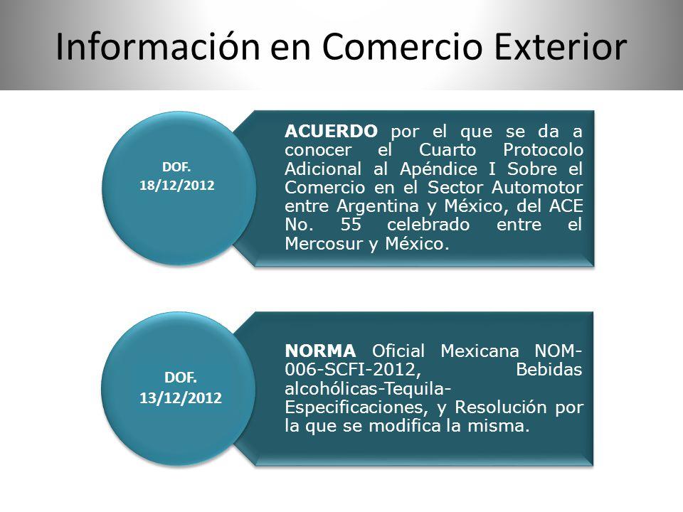 Información en Comercio Exterior ACUERDO por el que se da a conocer el Cuarto Protocolo Adicional al Apéndice I Sobre el Comercio en el Sector Automot