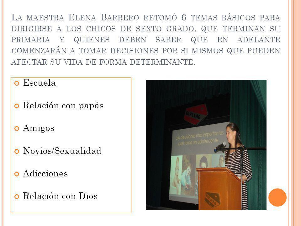 L A MAESTRA E LENA B ARRERO RETOMÓ 6 TEMAS BÁSICOS PARA DIRIGIRSE A LOS CHICOS DE SEXTO GRADO, QUE TERMINAN SU PRIMARIA Y QUIENES DEBEN SABER QUE EN ADELANTE COMENZARÁN A TOMAR DECISIONES POR SI MISMOS QUE PUEDEN AFECTAR SU VIDA DE FORMA DETERMINANTE.