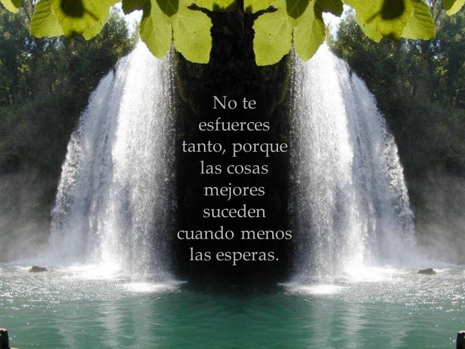 No te esfuerces tanto, porque las cosas mejores suceden cuando menos las esperas.